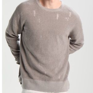 All Saints Men's Forram LS Crew Distressed Sweater